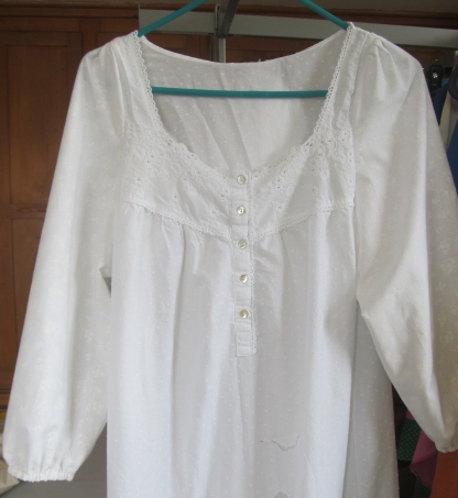 After, sleeved nightgown.