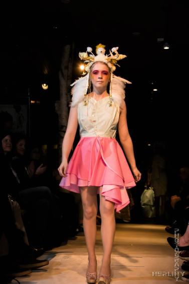 Reversible Swirl Dress: hand-dyed cotton. Tiara: found objects, feathers, beads, foam clay.
