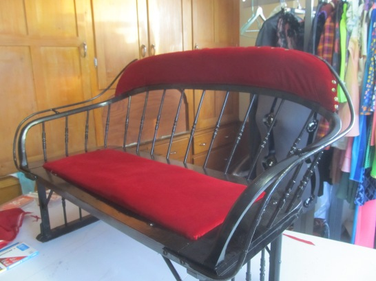 After, Sleigh Bench. Reupholstered with red velvet.