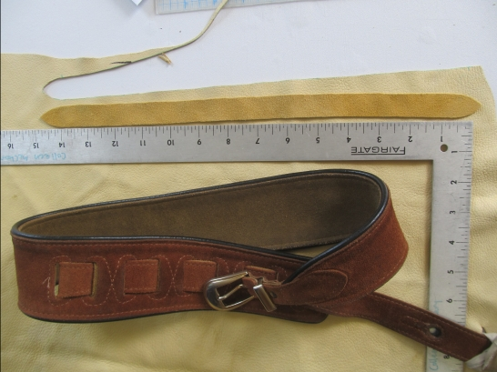 Process: leather replacement strap for client guitar strap